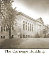 Old black and white photo of the Carnegie Building