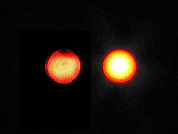 Photo of comparison of Incadescent (left) and LED (right) signals