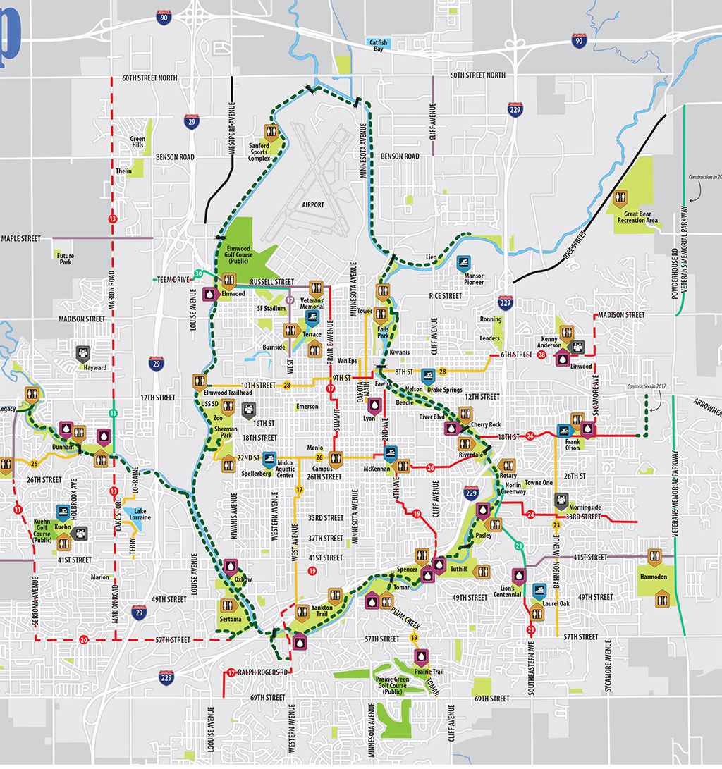 Bike Riding And Trails City Of Sioux Falls - Us bike route 1 map