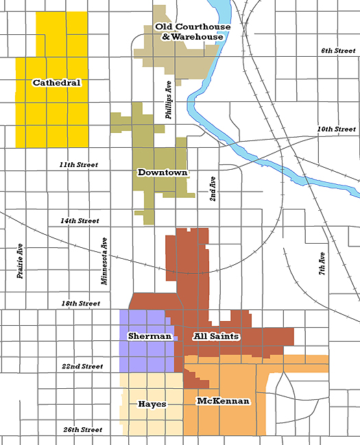 Map of Sioux Falls Historic Districts