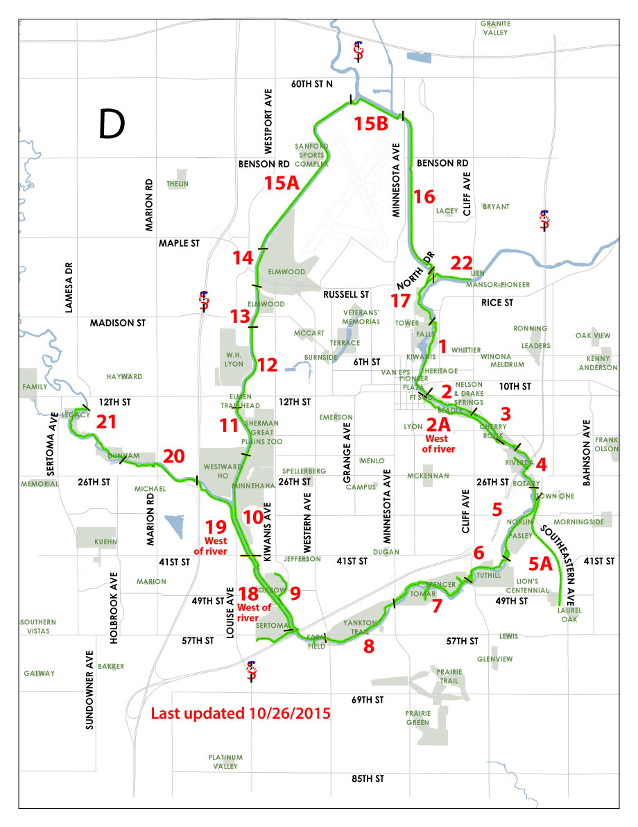 City Of Sioux Falls  Clickable Bicycle Trail Status Map